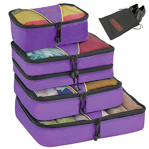 valyne Cubos de embalaje Equipaje de 4-pcs Set, Accesorios de viaje organizador bolsas con doble compartimento una bolsa de lavandería/bolsa para zapatos (mediana gratis)