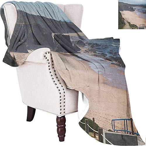 Beach Travel Blanket Western Portugal Ocean Coastline at Low Tide Vignettes Shot Canyons Wild Neat Scenery Soft Warm Insulated Pet-Friendly Home Bed Multicolor 57'x71'