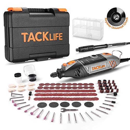TACKLIFE Rotary Tool Kit with MultiPro Keyless Chuck and 150 Pcs Accessories and Flex Shaft, Variable Speed and Powerful Motor Perfect for Crafting and DIY Projects - RTSL50AC