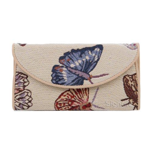 Signare Tapestry Arazzo portafoglio donna, portatessere donna, portafogli donna, Lady Wallet con Disegni di Animali (La farfalla)