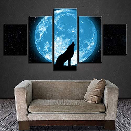 MLKJH Arte De Pared con Impresiones Modernas 5 Piezas Luna Y Lobo Animal Aullando Pinturas De Escena Nocturna Abstracta Decoración Póster Modular Cuadros En Lienzo-C 200X100Cm Cuadro