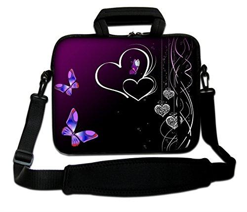 "Funky Planet 15\""- 15,6\"" Zoll Tablet-Laptop-Notebook MacBook-Tasche mit Griff und Tragetasche Schutzhaut (15h/s Two Queens) (Purple Butterflies 2)"