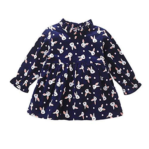 kingko Robes Bebe Filles Hiver Automne Robe Princesse a Manches Longues en mélange de Coton Robe Fille Mode Vetement Bebe Fille Hiver Robe de soirée Fille Robe Princesse Fille (3-6 Mois, Bleu foncé)