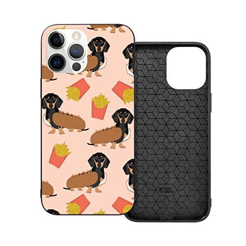 Doxie Dachshund Winer Dog Hot Dog y papas fritas disfraz lindo tema anticada moda telfono caso para i-phone 12