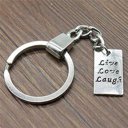 TAOZIAA 22x12mm Rectangular de Doble Cara Live Love Laugh Tag Keychain Antique Silver Fashion Handmade Keychain Party Gift Jewelry