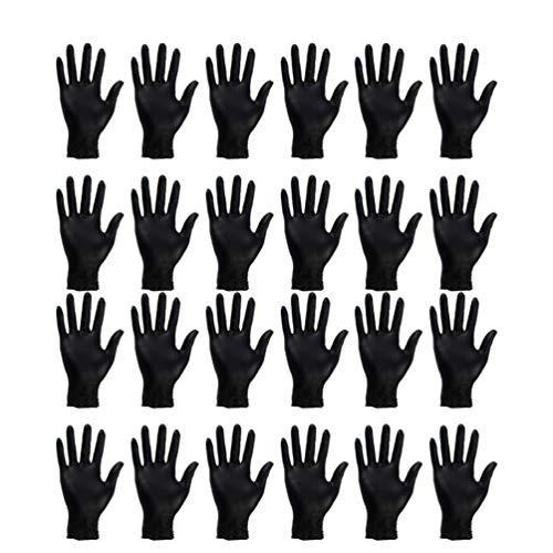 TOPBATHY Lot de 100 gants jetables en nitrile pour nettoyage des mains Taille S Noir, noir, RNS87150S174614U66