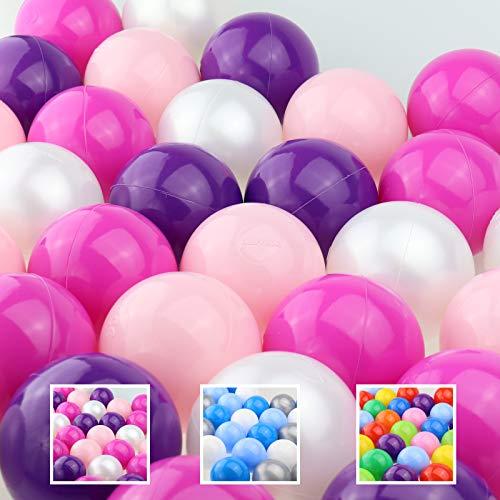 WELLGRO Bällebad - Bälle für Ballpool - 7cm Baby Spielbälle für Kinder - BPA frei - Hergestellt in der EU - Menge und Farbe wählbar, Farbe:Rosa, Stückzahl:200 Stück