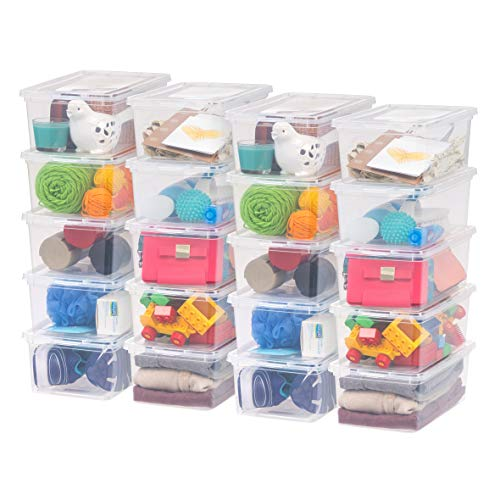 IRIS USA 5 Qt. Plastic Storage Bin Tote Organizing Container with Latching Lid, Great for storing Shoes, Heels, Crayons/Pens, Pencils, Art Supplies, Puzzles, Stackable and Nestable, 20 Pack, Clear