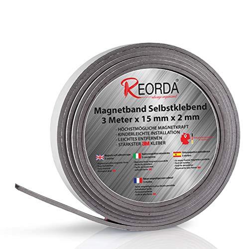 Reorda Magnetband - Selbstklebender Magnetstreifen mit optimierter Magnetstärke - Magnetleiste mit vielseitigen Einsatzmöglichkeiten - individuell zuschneidbar I Magnetklebeband I Magnetwand I Tape