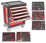 Carro de taller con herramientas ROJO, 7 cajones y 5 modulos en perfil...