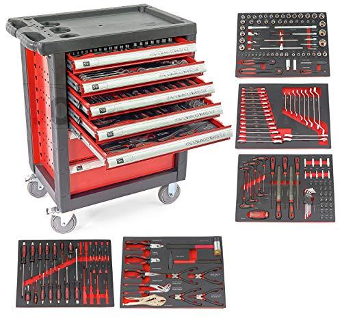 Carro de taller con herramientas ROJO, 7 cajones y 5 modulos en perfil Fibra de carbono 🔥