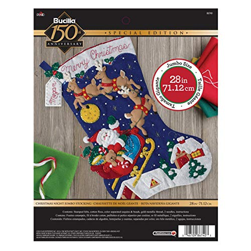 Bucilla Felt Applique Stocking Kit Christmas Night, Size 28-Inch