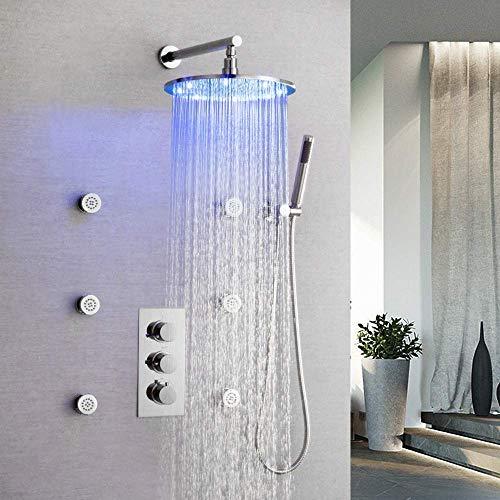 CY Cobre Plata LED de tres colores Cambio de atenuación de baño juego de ducha empotrar en la pared ducha de mano el sistema de boquillas de pulverización superior de la Ronda 38 ℃ ducha termostática