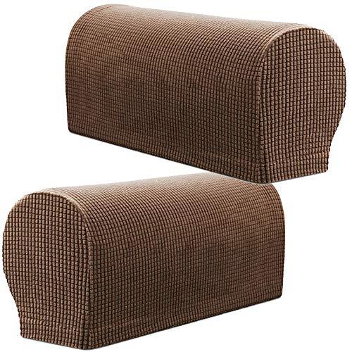 PBIEHSR Armlehnenbezüge, Stretch Sessel, Couch Armlehne Stuhlhussen für Möbelschutz, Anti-Rutsch-Sofa-Stuhl-Armkappen Spandex Polyester Schonbezüge, Set von 2 (Kaffee)