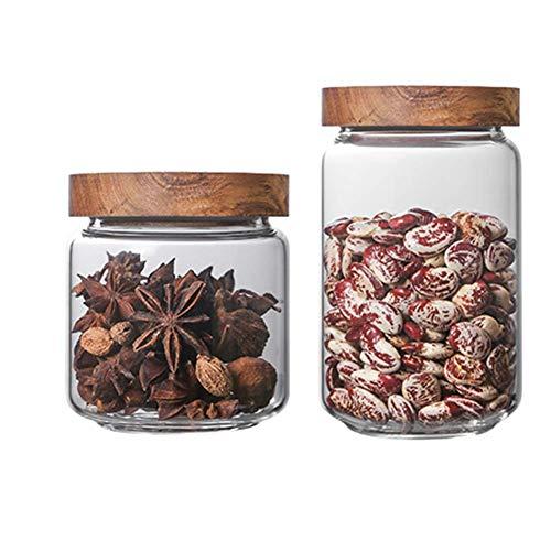 frasco de almacenamiento, frascos de vidrio para almacenamiento, juego de 2, organizador de alimentos transparente transparente, almacenamiento apilable para cocina, despensa y...
