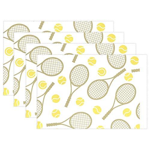 Ghypt - Juego de 6 manteles individuales para deportes de tenis, mesa de cocina, resistentes al calor, antideslizantes, para cena, lavable