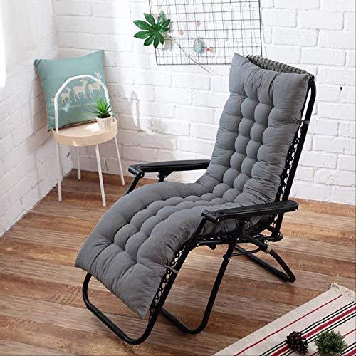 NoNo Zachte lange kussens voor in de tuin, ligkussen, dik, vouwbaar, schommelstoel, kussen, lange stoel, bank, zitkussen, pads 48x125cm grijs