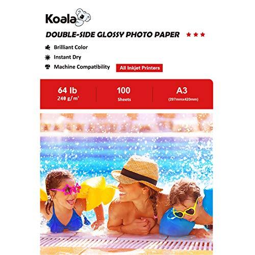 KOALA Carta fotografica Lucida Fronte-Retro per stampante a Getto d'inchiostro, A3, 240 g/m², 100 fogli. Adatto per la stampa di Foto, Brochure, Certificati, Opuscoli, Volantini, Biglietti, Calendari