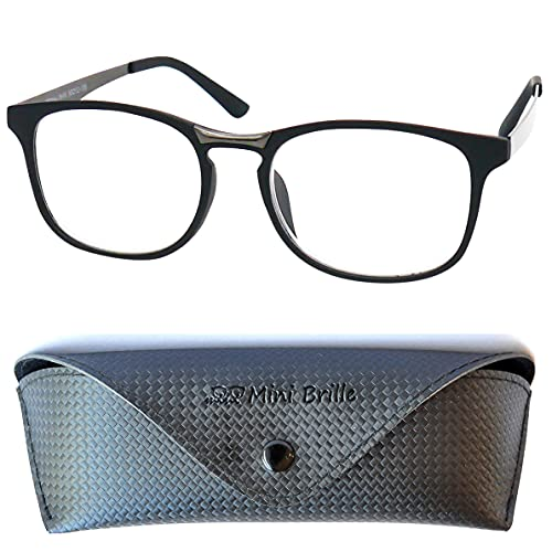 Gafas con Filtro de Luz Azul de Tendencia Ovalados, Montura de Plástico (Nero) con Patillas de Acero Inoxidable, Estuche GRATIS, Gafas Para Leer Para Hombre y Mujer +2.5 Dioptrías