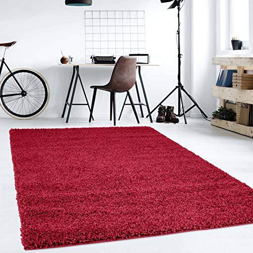 Hochflor Teppich | Shaggy Teppich fürs Wohnzimmer Modern & Flauschig | Läufer für Schlafzimmer, Esszimmer, Flur und Kinderzimmer | Langflor Carpet rot 080x150 cm