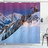 ABAKUHAUS Winter Duschvorhang, Majestic Sunrice Ski, mit 12 Ringe Set Wasserdicht Stielvoll Modern Farbfest & Schimmel Resistent, 175x200 cm, Mehrfarbig