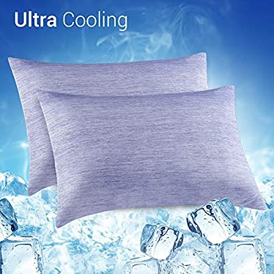 Elegear 2Pcs Cool Pillowcases for Hair and Skin, 2-in-1 Design Pillow Cases for Help Sleep With Japanese Cooling Silk Fiber, Hypoallergenic and Breathable, Standard(50x75cm) from Elegear