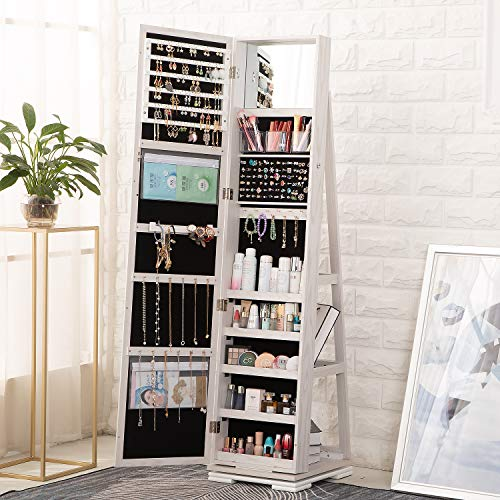 OUTDOOR DOIT QB1 360 Rotating Lockable Full Mirror Jewelry Organizer Wall Mounted/Door Mounted Jewelry Box For Women/Jewelry Cabinet Jewelry Armoire With Mirror/Full Length Mirror White