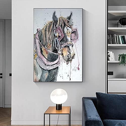 Cuadros decorativos Pinturas en lienzo, carteles e impresiones de animales, cuadros de cabeza de caballo, Cuadros de decoración moderna para la sala de estar del hogar regalos para mujer 20x32