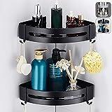 2 estantes de ducha de esquina negro/plata, estantería de baño de aluminio impermeable, cesta colgante de almacenamiento, accesorio para cuarto de baño (negro)