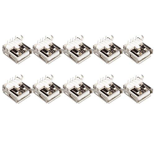 USB-Buchse Klinke Steckverbinder Typ A Leiterplattenmontage 4-Pin 90Grad, 10 Stück
