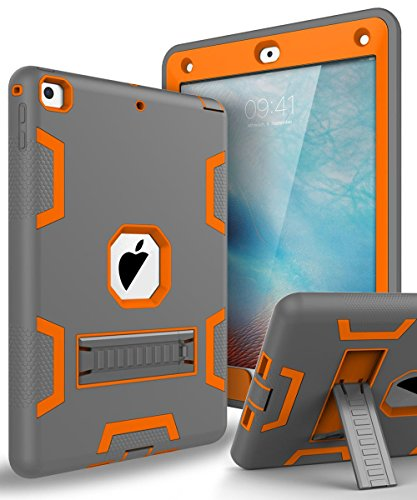 TOPSKY Case for New iPad 9.7 2018,iPad 6th/5th Generation Case,Three Layer Shockproof Defender Protective Case Cover for Apple iPad 9.7 2017/2018 A1893 A1954 A1822 A1823 ,Grey Orange