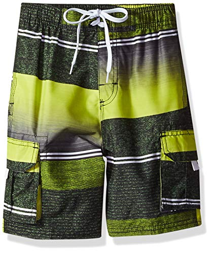 Kanu Surf Boys' Big YOLO Quick Dry UPF 50+ Beach Swim Trunk, Sandbar Black/Yellow, 14/16