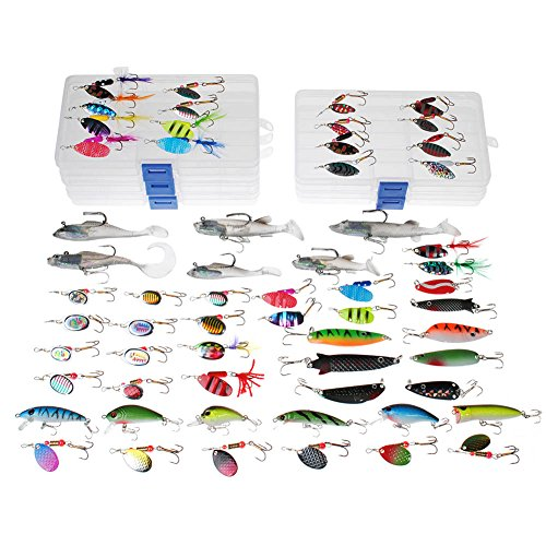 Dr.Fish 60 Fishing Lures Kit with 5 Tackle Boxes Spinner Baits Soft Plastic Swimbait Spoon Lures Crankbaits Minnow Popper Variety Set Assortment Rooster Tail Trout Spinner Salmon Spoons Walleye