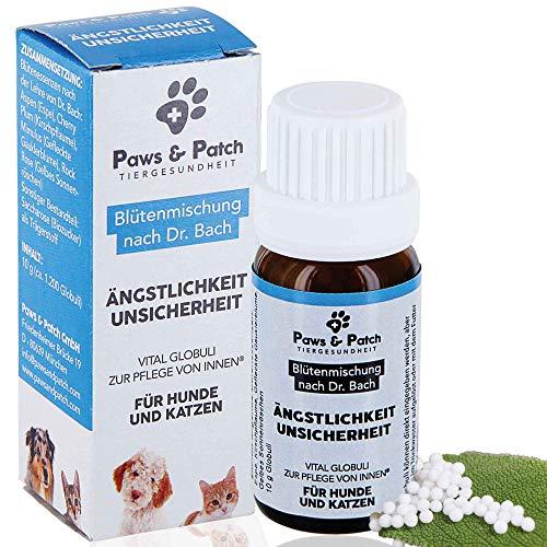 Paws & Patch Bachblüten für Hunde & Katzen ÄNGSTLICHKEIT UNSICHERHEIT, pflanzliches Beruhigungsmittel bei Angst vor Menschen, Geräuschen oder Tieren