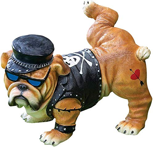 Tough Guy Biker Bulldog Peeing Dog Statue Yard Lawn Ornament Gift Decor House