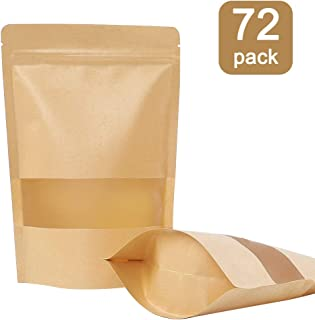 Moretoes 72pcs Kraft Stand Up Pouches, Zip Lock Stand Up Bags with Matte Window, Reusable, Heat-Sealable for Home or Business, 5.9×8.6 Inches