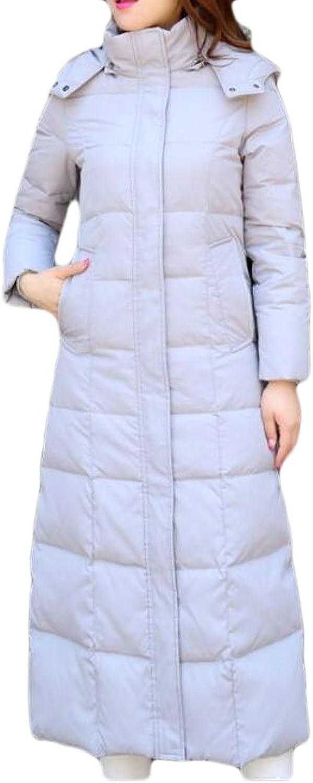 JXGWomen Thicken Zip Front Quilted Faux Fur Hoodie Puffer Down Coat