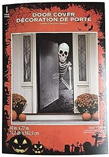 Haunted Halloween Skeleton Door Cover Decorations Scary Demon Dripping Blood 30 X 72 Perfect for Front Door, Refrigerator, Restroom Door or Classroom Door.