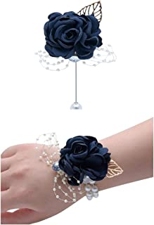 Flonding Rose Wedding Wrist Corsage and Boutonniere Set Party Prom Hand Ribbon Flower Suit Decor (Dark Blue)