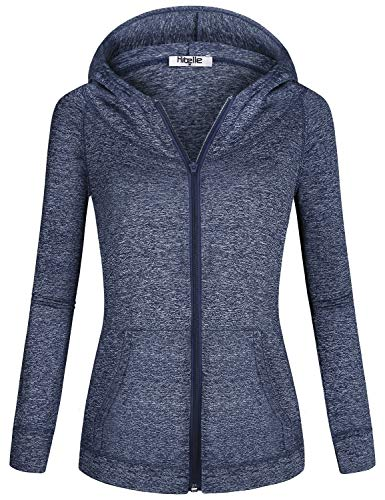 Hibelle Blue Hoodie Women, Hooded Sweatshirt Stretchy Workout Full Zip-up Long Sleeve Pockets Exercise Sporty Track Jackets with Hoodies Sweater Shirts for Women Gym Clothes X Large