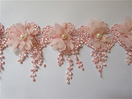 2 Meters 3D Flower Tassel Fringe Pearl Lace Edge Trim Ribbon 9 cm Width Vintage Style Pink Edging Trimmings Fabric Embroidered Applique Sewing Craft Wedding Dress Embellishment DIY Clothes Embroidery