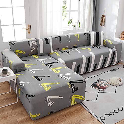 Fundas de Sofá 2 plazas y 4 plazas 2PCS, Funda de sofá elástica para Sala de Estar Funda de sofá, Funda de sofá Chaise en Forma de L Universal G