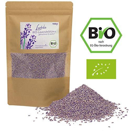 BIO Lavendelblüten getrocknet und essbar von LAVODIA, 100% rein und natürlich, köstliche Bio Lavendel Blüten blau ganz zum Essen, für Tee oder als Duft, 100g