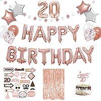 SicurezzaPrima 20歳の誕生日の装飾XXLホイル風船装飾セット76ピースローズホワイト