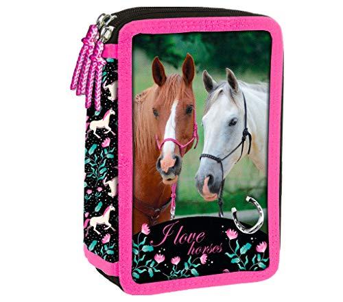 Pferd Pony Einhorn Federmappe 3-Fach Dreistöckige Federtasche Federmäppchen Inklusive-Sticker-von-Kids4shop