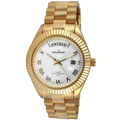 Peugeot 14K All Gold Plated Big Face Luxury Watch with Day Date Windows, Roman Numerals & Coin Edge Fluted Bezel Watch