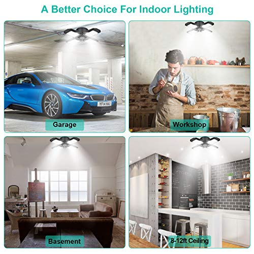 2 Pack LED Garage Lights, 80W Deformable LED Garage Ceiling Lights with 4 Adjustable Panels, 8000LM E26 LED Shop Lights for Garage, Basement, Barn, High Bay Light (Black, 2PACK) 4