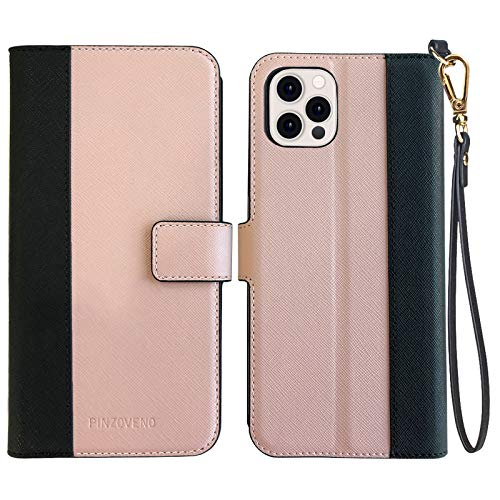 Pinzoveno Compatible with iPhone 12 Pro Max Case Wallet, Flip Phone Cover with Card Holder Wrist Strap and Screen Protector Kickstand PU Leather Folio iPhone 12 Pro Max Cases for Women - Pink