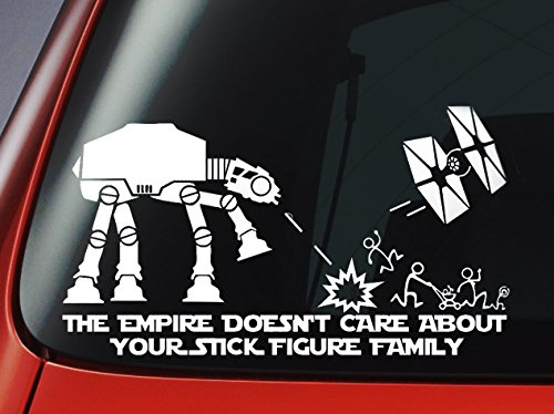 "Star Wars ATAT & Tie Fighter Inspired 'The Empire Doesnt Care About Your Stick Figure Family"" Vinyl Decal - Car Window Sticker"