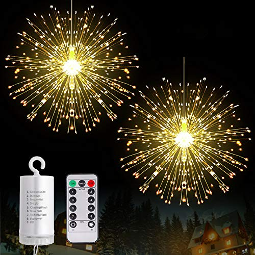 Fairy Christmas String Lights Wire Lights, 225 LED DIY 8 Modes Dimmable Lights with Remote Control, Waterproof Decorative Hanging Starburst Lights for Christmas, Home, Patio, Indoor Outdoor Decoration